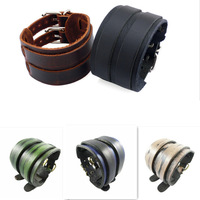 2 Layer Punk Belt Men Genuine Cow Leather Bracelet Wristband Cuff Bangle Gift