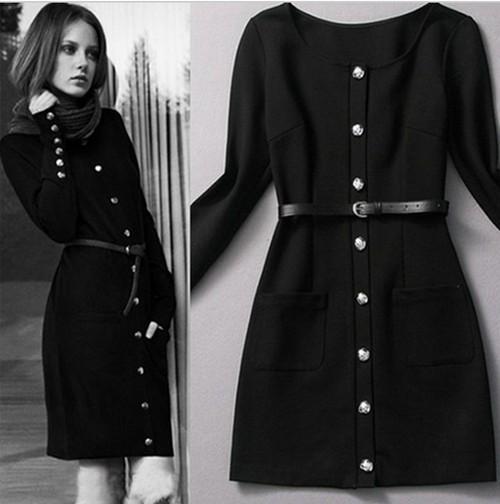 Long Black Winter Dress