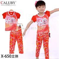 New girls short sleeve orange frozen clothing set / children 2-7 years pajamas / kids clothing set