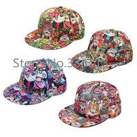Free Shipping Unisex 3 Eyes Vampire Cartoon Graffiti Baseball Caps Hip-Hop Snap Back Flat Outdoor Adjustable Fashionable Hats