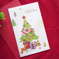 Handmade Christmas gift Christmas Holiday Greeting Cards Colorful cloth- Set of 8