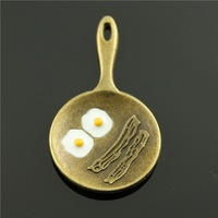 10pcs/lot 41*24mm 2 colors rhodium and antique bronze plated enamel Omelette charms