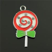 10pcs/lot 34*20mm chrome plated mix colors enamel lollipop charms
