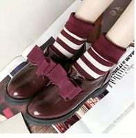 Hot sale spring / autumn 2014 women's bow flats shoes brand PU leather Ladyies free breed Sapatos Femininos female  highway