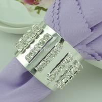 5 Rows  silver wedding table decoration rhinestone ribbon napkin rings