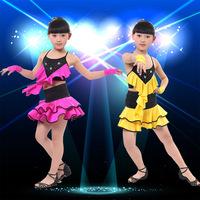 2014 New Girls's Backless Latin Dance Dress Rhinestones Dance Clothes Salsa Ballroom Competition Dancing Dresses LD011