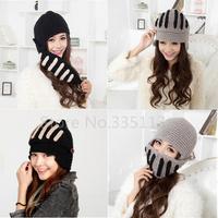 Free Shipping Hot Sale Winter Warm Gladiator Mask Roman Knight Soft Hat Gladiator Knitting Wool Cap Women Men Fashion Beanies