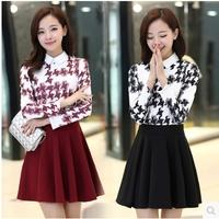 Autumn and winter dress 2015 women's peter pan collar slim elegant long-sleeve plus velvet thickening wool one-piece dress C2270