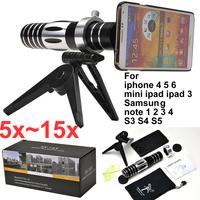 mobile phone 5x-15x zoom Telescope camera lens For iphone 4 5 5s 5c 6 plus mini ipad Samsung note 2 3 N7100 i9300 i9500 S3 S4 S5