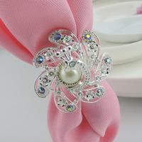 Free Shipping 100pcs silver Napkin Holder  Chinese Style Acryl Napkin Ring For Wedding Christmas