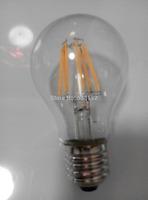 Free shipping 6W  806lm ,   LED filament  bulb 2pcs/lot LED lamp E27/B22 LED Bulb LED E27   360 degree A60 Bulb 60W replacement