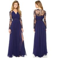 Vestido De Renda Winter 2014 Solid V Neck Patchwork Embroidery Roupas Femininas Evening Party Lace Long Beach Bodycon Dress