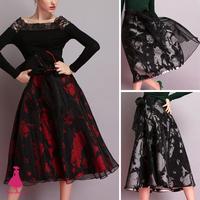 Women Saias Femininas Vintage Hepburn Bows TuTu Midi High Waist Ball Gown Contrast Print Organza Pleated Swing Tulle Skirt 2014