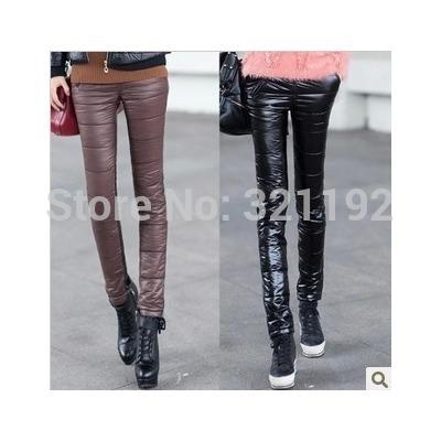 D50 Female winter plus velvet plus size PU Waterproof Thicken Leggings down pants woman slim warm pencil down trousers D516(China (Mainland))
