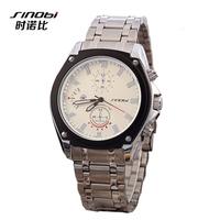 SINOBI 3SR02 Men fashion Brand Watches Stainless Steel boys Wristwatches Analog Quartz Clock Men's Luxury Brand Watch