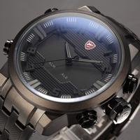 SHARK Luxury Brand LED Display Auto Date Day Relogio Masculino Black Alarm Analog Quartz Sport Military Men Digital Watch /SH199