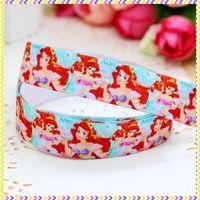 5/8'' Free shipping Fold Over Elastic FOE mermaid printed headband headwear hair band diy decoration wholesale OEM P3481