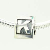 925 Silver Beads Sterling Silver Charms Fits Pandora Bracelet & Necklace DIY Alphabet K Letter LSbK