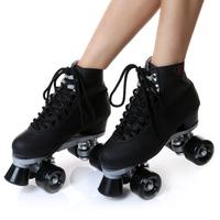2014 double roller skates roller skating shoes black PU wheel