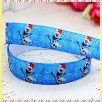 5/8'' Free shipping Fold Over Elastic FOE frozen printed headband headwear hair band diy decoration wholesale OEM P3487