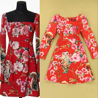 2014 Brand Fashion Square Collar Cute Owl Printed Women's Dress Party Homecoming Dresses F16577