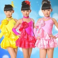 Fringe Shiny Rhinestone Girl Latin Dance Dress Salsa Dresses Samba Fitness Flamenco Dancing Clothing Set Ballroom Dress LD012