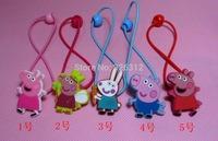 Wholesale Beautiful girls kids Peppa pig Doll colorful Elastic hair Bands Hairwear accessories Christmas gifts Headwear RJ3052