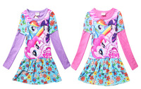 My Little Pony Baby Girls Fashion Dresses Kids Autumn 2 Color Cartoon Cotton Dresses Children Christmas Gift