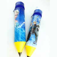 Free shipping  new explosion models Frozen cartoon pencil barrel with zipper frozen storage pen PVC cylinder Pencil holder