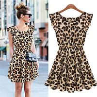 2014 Fashion New Women Leopard Print Pleated Casual Short Dress Ruffles Sleeve Dress Vestidos Femininos Free Shipping YYJ764