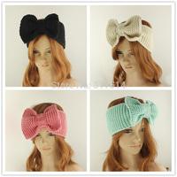 Free shipping women Knitted crochet Headband Wide Bow Ear Warmer Women's Fashion Winyer Accessory HL150