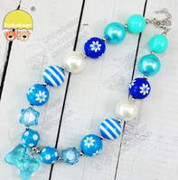 Baby Jewelry Solid beads butterfly 20mm Blue color pendant bubblegum Necklace 2pcs/lot New