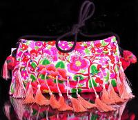 Original Designer Handbag Pink 2014 Women Shoulder Messenger Bag Casual IPAD Bags Beautiful Floral Embroidery 14 Tassels Gifts