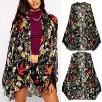 2014 Retro Bird Multi-Color Flower Print Tassels Fringed Kimono Loose Cardigan Jacket Polyester Shirts No Button Blouses