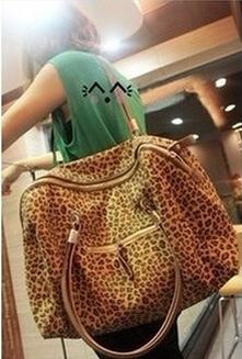 Fashion leopard leather handbag big messenger bag cheap leather purse name brand handbags wholesale price bags free shipping(China (Mainland))