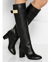 Fashion  women knee high boots red / black real leather square heeled winter booty with gold buckle