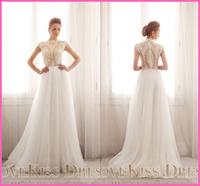Vestido De Novia Cap Sleeve Scoop Neck See Through Noble Lace A Line Tulle Long Wedding Dresses 2015