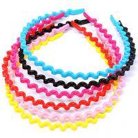 A148 Japanese candy-colored plastic wavy hair hoop headband hair accessories wholesale Korean wild multi-colored headdress 8g