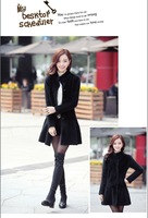 Free shipping 2014 new women's skirt was thin long-sleeved thin genuine mink collar cashmere coat windbreaker jacket
