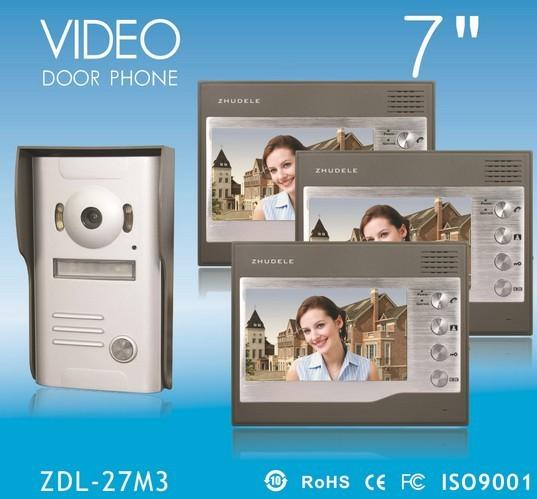 "Promotion International Quality! 2014 New 7"" video door phone , IR CCD Camera , waterproof 1V3(China (Mainland))"