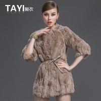 EMS Free shipping 2015 new winter women three quarter sleeve medium-long slim plus size really rabbit  fur coat jacket (S-3XL)