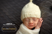 Aesthetic baby fairy cap newborn baby tire cap 3 - props white knitted hat