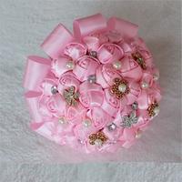 Top quality Bouquet flower Elegant hand made decorative Artificial Silk Rose flower Bride Bridal Crystal Wedding Bouquets X1717