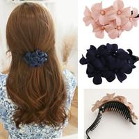1Pc Elegant Women Girls Handmade Flower Banana Barrette Hair Clip Hair Pin Claw