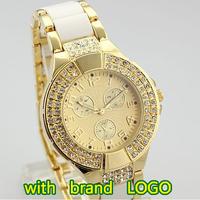 With Brand LOGO 2014 New Fashion Women Rhinestones Watch Luxurious Top Brand G Luxury Quartz Steel Women's Casual Crystal Watch