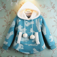 Children's clothing winter print thermal outfit new edition printed bear warm fleece collar pullover