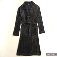 Nk grey light bar coral fleece robe bathrobes male medium-long