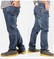 large size men jeans autumn winter plus size 44 46 48 50 6xl  blue color High-rise elastic loose cool denim straight jeans pant