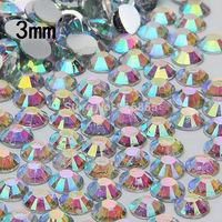 Free shipping Wholesale fashion 30000pcs 3mm Crystal AB/Clear AB flatback Resin rhinestones,nail art  rhinestones for DIY deco