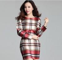 XL-4XL Brand 2014 High Quality Fall Women Long sleeve Plaid Wool Dress, Ladies Winter Slim Big size XXXL Dresses